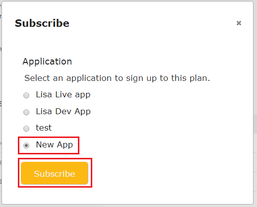 Subscribe Application To Plan
